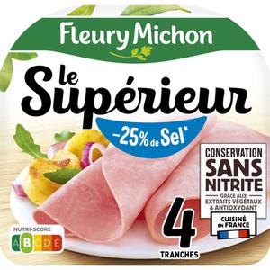 Fleury Michon Jambon -25% Sel Sans Nitrite x4 Le Supérieur