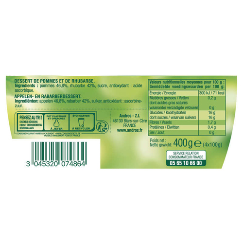 Andros compote pomme rhubarbe 4x100g