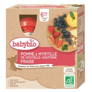 Babybio purée de pomme, myrtille et fraise bio 6M le pack de 4x90g