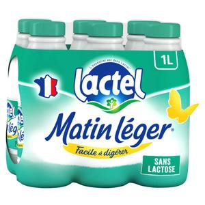 Lactel Matin Léger écrémé bouteille 6x1 L