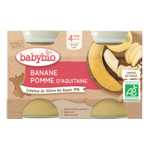 Babybio Petits Pots Banane Pomme d'Aquitaine Dès 4 Mois 2x130g.