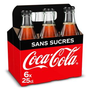 Coca-Cola Sans Sucres Bouteilles Verre 6 x 250 ml