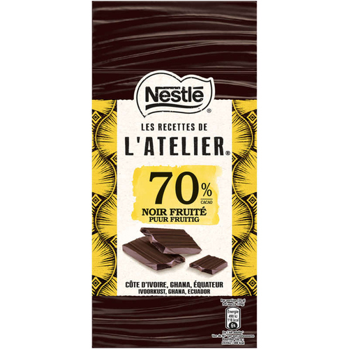 estle L'atelier tablette chocolat noir 70% Fruité 100g.