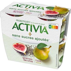 Activia Yaourt aux fruits poire figue chia sans sucres ajoutés 4x115g