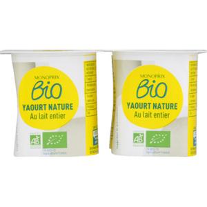 Monoprix Bio Yaourt nature au lait entier bio 4X125g
