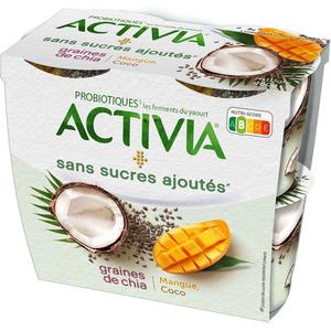 Activia Yaourt aux fruits mangue coco chia sans sucres ajoutés 4x115g