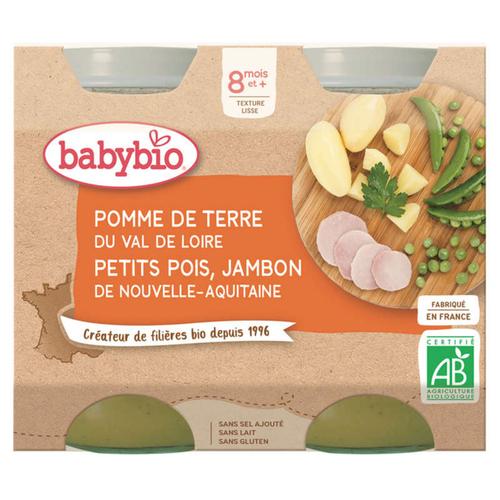 [Par Naturalia] Babybio Petits Pots Légumes et Jambon 8M 2x200g Bio