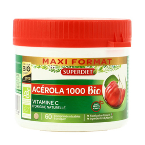 [Para] Super Diet Acérola 1000 Bio Vitamine C Comprimé Sécable à Croquer Boite x60