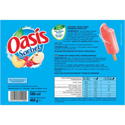 Oasis Sorbet pêche pomme framboise 400g