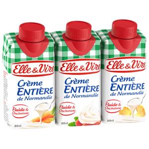 Elle & Vire Crème Entière de Normandie Fluide et Onctueuse 3x20cl