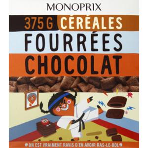 Monoprix Céréales fourrées chocolat 375g