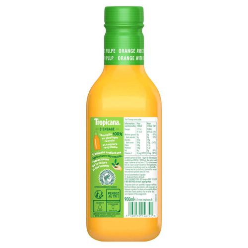 Tropicana Pur Jus Frais d'Orange Avec Pulpe la Bouteille de 90cl