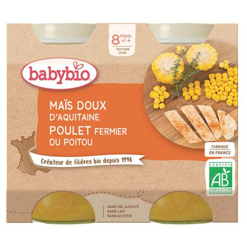 Babybio Maïs doux & Poulet fermier du Poitou 400g.