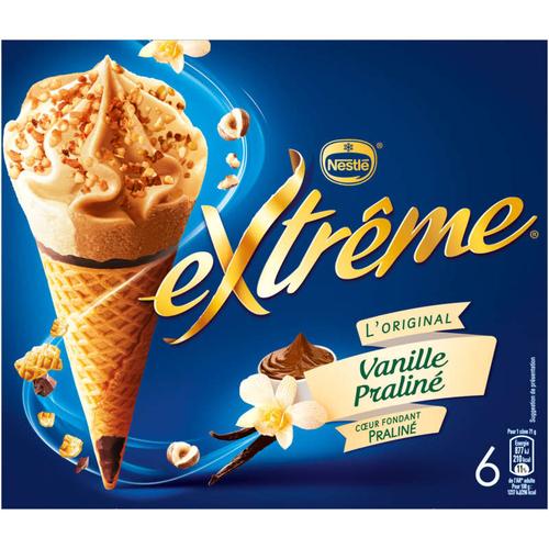 Nestlé Extrême Cônes Vanille Praliné cœur fondant Praliné 6x71g.