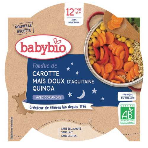 Babybio Fondue de carotte, maïs et quinoa, dès 12 mois, Bio 230g