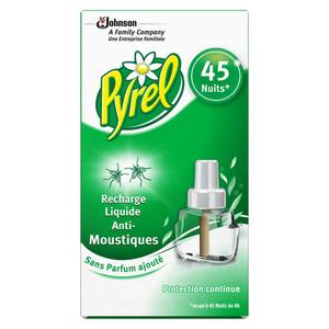 Pyrel Recharge Liquide Anti-Moustiques Sans Parfum Ajouté 45 Nuits 27ml