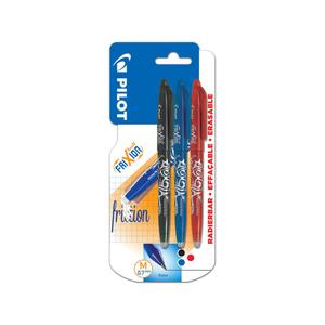 Pilot 3 stylos effaçables FriXion Ball noir bleu rouge