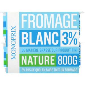 Monoprix Fromage blanc 3% nature 8x100g