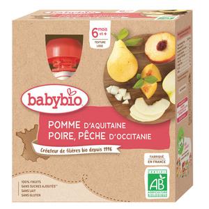 Babybio purée de pomme, poire et pêche bio le pack de 4x90g
