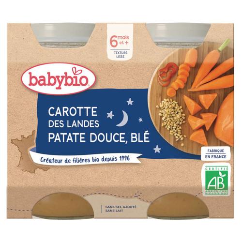 Babybio Petits Pots Carotte Et Patate Douce 6M 2x200g Bio