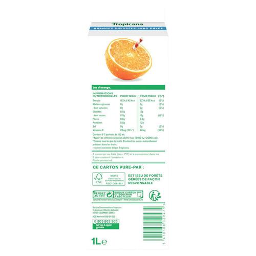 Tropicana Pur Jus Frais d'Orange sans Pulpe la Brique de 1L