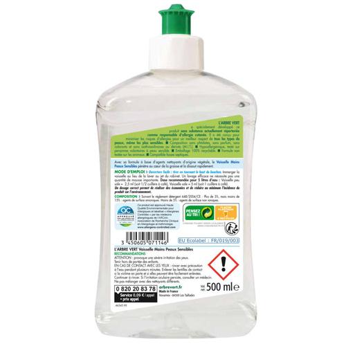 L'Arbre Vert Liquide Vaisselle & Mains Ecologique Peaux Sensibles 500ml.