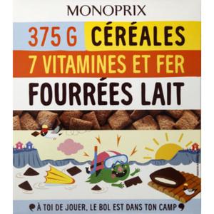 Monoprix Céréales 7 vitamines et fer, fourrées lait.