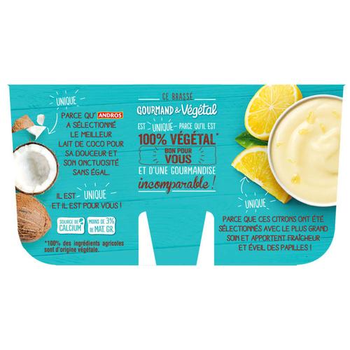 Andros végétale au lait de coco &  Citron 4x100g