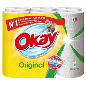 Okay Essuie-Tout Blanc le Paquet x6 rouleaux