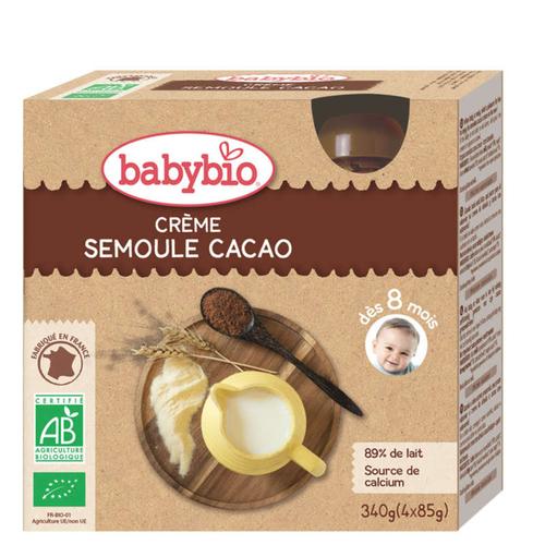 Babybio Crème Semoule Cacao Dès 8 Mois 4x85g