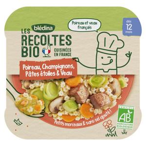 Les Recoltes Bio Poireaux Champignons Pâtes et Veau dès 12 Mois 230g