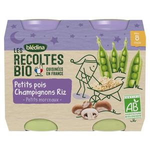 Les Recoltes Bio Petis Pois Champignons Riz dès 8 mois 2 x 200g