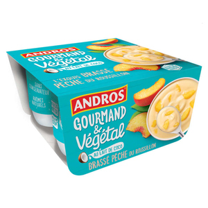Andros Gourmand Végétal Brassé Pèche 4 x 100g