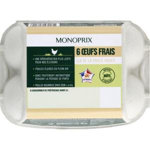Monoprix oeufs de poules élevées en plein air x6