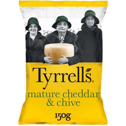 Tyrrell's chips de pomme de terre au cheddar et à la ciboulette 150g.