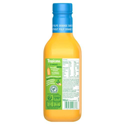 Tropicana Pur Jus Frais d'Orange sans Pulpe la Bouteille de 90cl