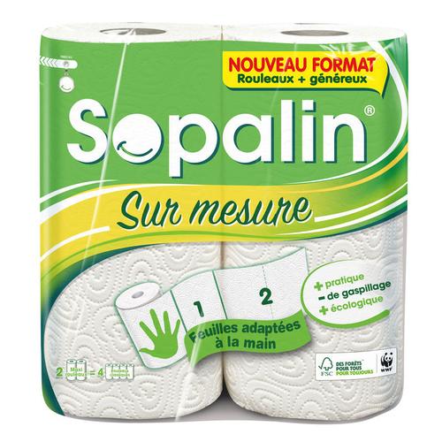 Sopalin essuie-tout blanc le paquet de 2 rouleaux