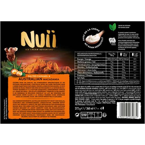 Nuii Bâtonnets caramel salé & macadamia d'Australie 272g