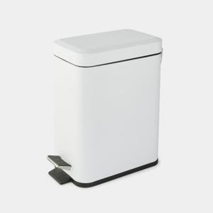 Monoprix Maison Poubelle Rectangulaire À Pédale, Blanc Mat, 5L.
