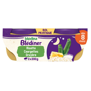 Blédina Plat Blediner Risotto de Courgettes Lait Des 8 Mois 2x200g