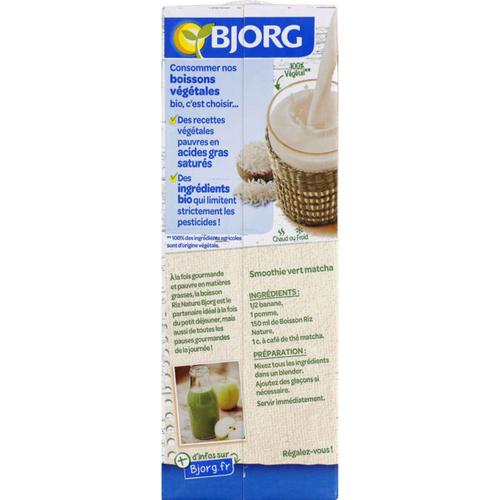 Bjorg Boisson à base de riz nature, bio 1L.