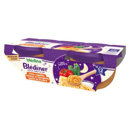 Blédina Blediner Pâtes Coquilles Tomates Courgettes Lait Dès 12 Mois 2x200g
