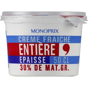 Monoprix crème fraîche entier 30% 50cl