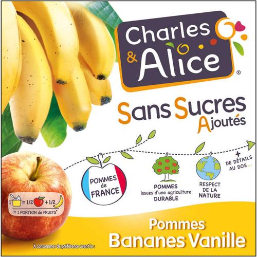 Charles & Alice Desserts fruités pommes bananes et vanille 4x97g.