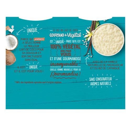 Andros Riz au lait de coco vanille vegetal 400g.