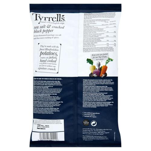 Tyrrell's Chips de pomme de terre sel et poivre 150g.