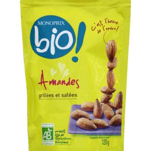 Monoprix Bio Amandes grillées et salées bio 120g