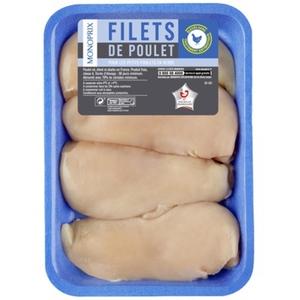 Monoprix filets de poulet x4 le paquet de 560g