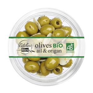 Atelier Blini Olives Bio ail et Origan 150g .