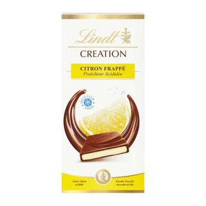 Lindt Creation tablette chocolat citron frappé 150g.